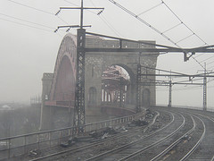 Gritty Hell's Gate Bridge Shrouded In Fog