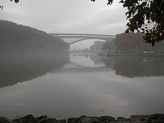 Looking Up A Fog Covered Spuyten Duyvil Creek At The Henry Hudson Bridge
