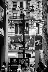 Black And White Photo Of Herald Square At Rush Hour