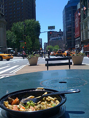 A Image From The Point Of View Of A Diner In Herald Square