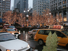 Trees Strung With Lights Are Seen At Herald Square On A Rainy Day