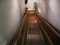 Antique Wooden Escalator From The 1920's In Macy's Department Store At Herald Square