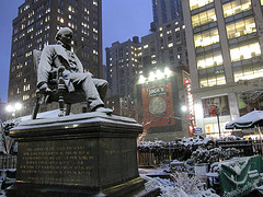 The Statue Of The First President Of A New York Union, In Herald Square.