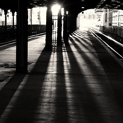 Artistic And Ghostly View Of The Hoboken Terminal.