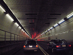 Vehicles In The Holland Tunnel, Connects Manhattan To Jersey City