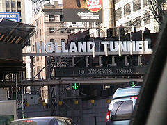 Busy Traffic Entering The Holland Tunnel In New York