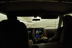 Inside A Car Crossing Through The Holland Tunnel Which Stretches From Jersey City To Manhattan