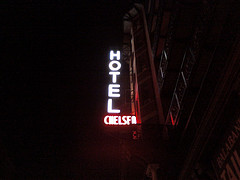 Neon Sign Outside Hotel Chelsea At Night