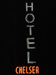 On A Dark Night, The Sign For Hotel Chelsea Shines Brightly