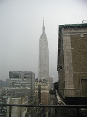Hotel Pennsylvania On A Cloudy And Rainy Day.