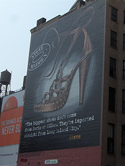 A Billboard Along Houston Street In Manhattan Advertising Shoes