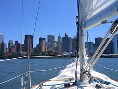 View From A Sailboat Of Hudson, A Manhattan Neighborhood.