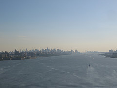 A Hazy View Of Manhattan Over The Hudson