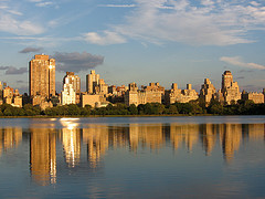 New York Reflected On The Waters Of The Jacqueline Kennedy Onassis Reservoir