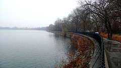 A Dark Foggy Day Shot Of The Jacqueline Kennedy Onassis Reservoir Inside Central Park