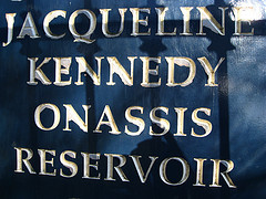 Sign For Jacqueline Kennedy Onassis Reservoir, In Central Park, A Favorite Running Route For New Yorkers