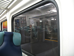 Platform Of Jamaica Station On The Lair, As Seen From Inside The Train At Night
