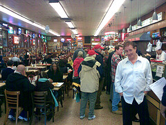 Customers At Katz's Delicatessen, A Jewish Kosher Deli on The Lower East Side.