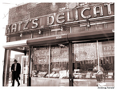 Old Time Photo Of Katz's Delicatessen Founded In 1888, Known For Pastramis And Hot Dogs.