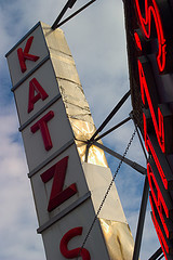 The Burning Red Neon Sign For Katz's Delicatessen On Houston Street In Manhattan