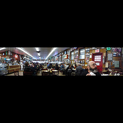 A Panorama View From The Inside Of Katz's Delicatessen On The Lower East Side