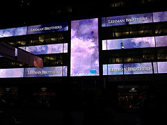 The Lehman Brothers Building Lights Up Day Or Night.