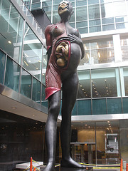 Damien Hirst's Virgin Mother Statue At The Lever House Near The Museum Of Modern Art