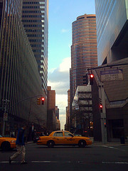 Crossing Lexington Avenue, New York Cabs Hail The Arrival Of A Beautiful New Day