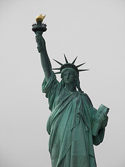 The Statue Of Liberty Welcoming People To America On Liberty Island