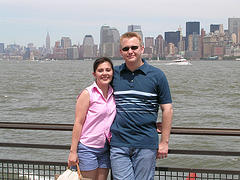 A Lovely Couple Enjoying A Sunny Day On Liberty Island, 1.6 Miles From New York.