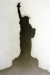 Silhouette Of Statue Of Liberty On Liberty Island