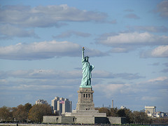 The Statue Of Liberty, Commissioned In 1876, Stands Alone On Liberty Island