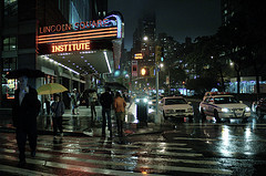 Lincoln Square Lights On A Wet Night In New York
