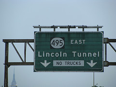 Interstate 495 Sign On Approach To New York's Lincoln Tunnel