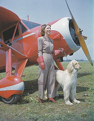 A Woman With A Large Dog By A Vintage Plane On Long Island