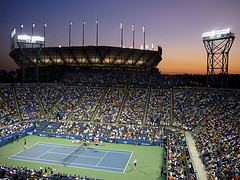 A Night Match At Louis Armstrong Stadium, The Second Largest Stadium For The Us Open