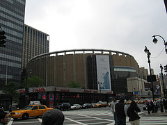 World Famous Madison Square Garden Set Against A Grey Sky.