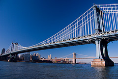 Manhattan Bridge On The East River, Brooklyn Bridge In The Background