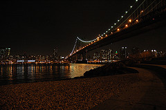 Lights On The Steel Cables Of The Manhattan Bridge At Night, Viewed From Dumbo In Brooklyn