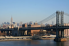 A View Of The Manhattan Bridge From Across The River.