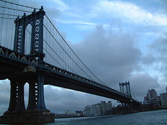 The Manhattan Bridge On A Cloudy Afternoon.