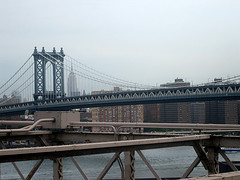 Manhattan Bridge Connects Brooklyn To Manhattan, Built 1909, Steel Cable Construction