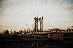 A View Of The Manhattan Bridge, Constructed In 1909, As Seen From The Brooklyn Bridge