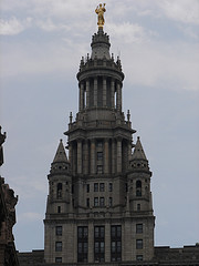 A Cloudy Daytime Shot Of The Manhattan Municipal Building With The Second Highest Statue In Manhattan