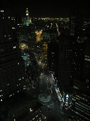 Aerial View Of The Manhattan Municipal Building Taken At Night.