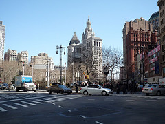 A Line Of Cars Backs Up Outside Of The Manhattan Municipal Building