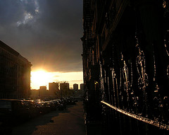Sun Sets Over Mahattanville, Area Of West Harlem North Of Morningside Heights