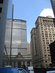 The MetLife Building Towering Over Union Station On A Sunny Afternoon