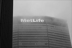 Image Of The MetLife Building, Shrouded With Fog.