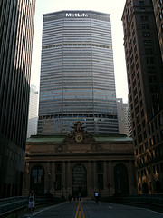 A Full Front View Of The MetLife Building With Union Station And Its Clock That Has 3 Greek Gods Of Time